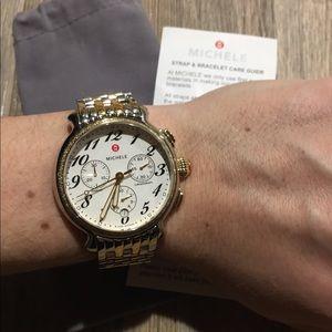 💯 % auth Michele diamond two tone fluette watch